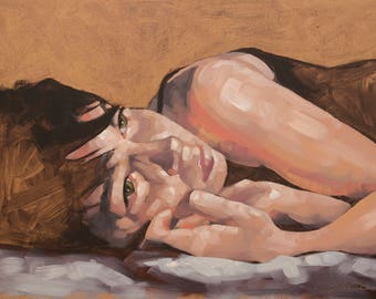 "Fine Art Portrait Painting, Original Oil Painting with Sleeping Female, Loose Figurative Realism Painting - ""Restless"""