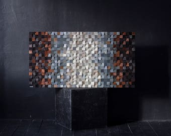 Free Shipping. Wood wall art, reclaimed wood art, 3 d wall decor, Wood mosaic, Wood sculpture, abstract painting
