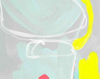 Yellow and Teal 5x7 print on high quality semi gloss archival paper