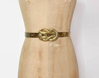 Vintage 80s BRASS Belt / 1980s Solid Metal Pretzel Knot Buckle Boho Belt