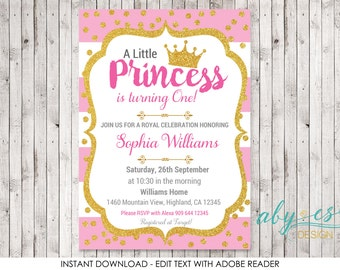 Birthday Little Princess Invitation, ANY AGE Pink & Gold glitter Edit yourself with Adobe Reader