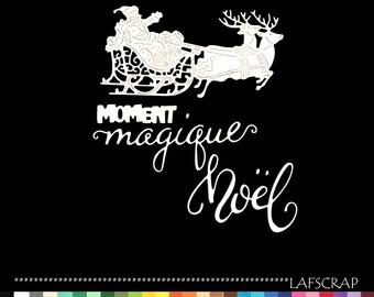 Santa Claus sleigh reindeer scrapbooking cuts animal Word magical Christmas die cut paper cut