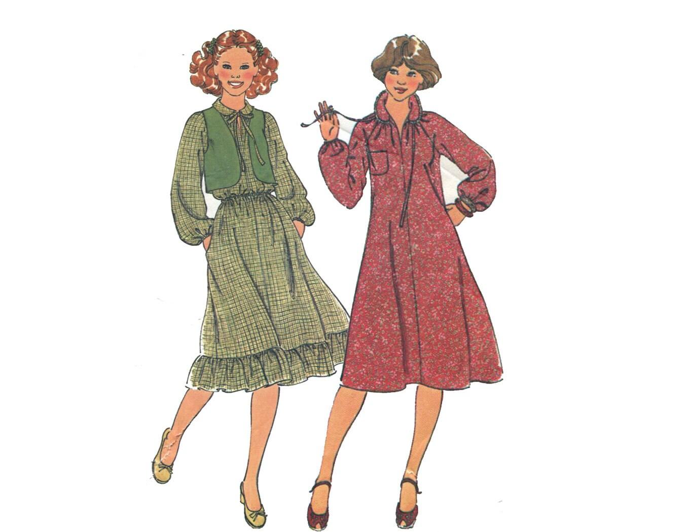 1970er Jahren Prairie Kleid und Weste Muster Raglan Ärmel Runde ...