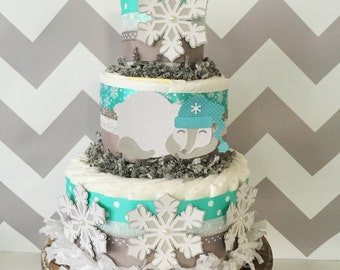 Winter Snowflake Diaper Cake, Polar Bear Centerpiece, Snowflake Baby Shower Decoration