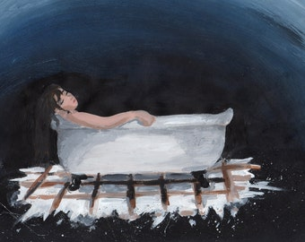 Rest and relaxation(print), girl in bathtub, galexy, dreaming, fantasy art, sleeping, print, whimsical art