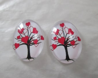 2 cabochons glass 25 x 18 mm tree with hearts pattern