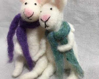 Sweet needle felted bunnies