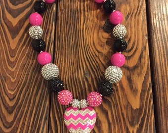 Pink, black and silver chunky bead necklace, Chevron hot pink and silver rhinestone heart pendant. 19 inches long and ready to ship.