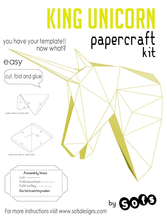 Printed unicorn papercraft kit you will be shipped 1 kit containing you will be shipped 1 kit containing cardstock template for this diy do it yourself paper sculpture from sofspaperplanet on etsy studio solutioingenieria Images