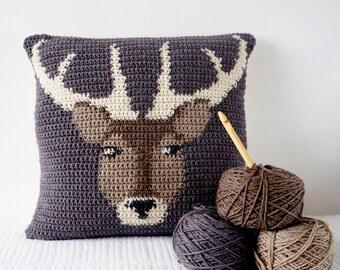 Stag Cushion, Cascade 220, Adventure Pillow, Double Crochet, Pattern Deer, Single Crochet, Intarsia Tapesry, Crochet Fall, Decor Lodge