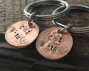 6th Anniversary gift, anniversary gift for men, gift for couples, penny keyring, boyfriend girlfriend, husband wife, personalized key chain