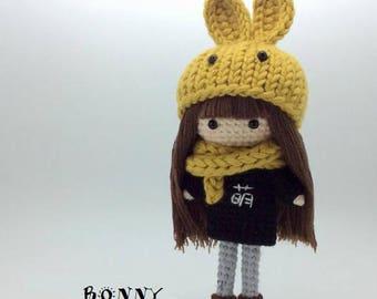 cute little girl pattern, crochet doll pattern, amigurumi doll pattern