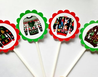 Ugly Sweater Cupcake Toppers, Ugly Sweater Party Cupcake Toppers, Ugly Sweater Party - Ugly Christmas Sweater Party Decorations