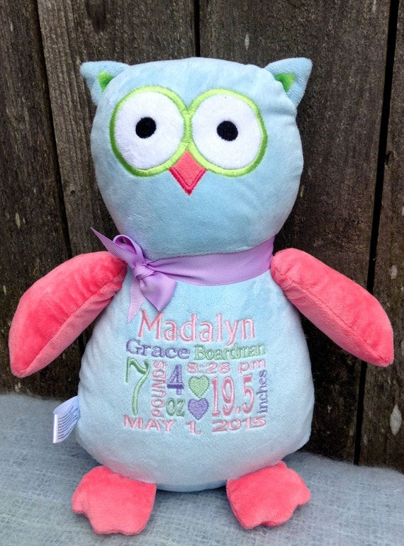 Personalized baby gift owl stuffed animal birth personalized baby gift owl stuffed animal birth announcement boy girl gender neutral baby shower gift for new parents easter basket gift negle Gallery
