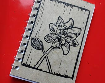 Small Block Print Recycled Blank Book - Flower