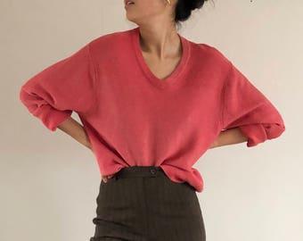 vintage mens sweater / boyfriend sweater / oversized salmon sweater / slouchy sweater | xl