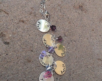 LIMITED TIME SALE Cascade Mothers or Family Necklace - Solid Sterling & Swarovski Birthstones