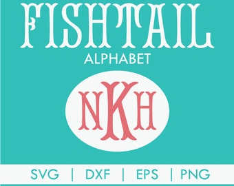 Fishtail Monogram Alphabet Font SVG DXF PNG