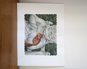 Watercolor painting of a squirrel on a cherub statue