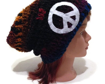 Peace Sign Hat Black Rainbow Hat Rainbow Hat Ombre Rainbow Hat Slouchy Hippie Slouchy Hat Festival Hat Peace Sign Beanie Festival Clothing