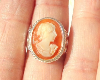 Sz 7, Hand Carved Cameo Ring, Sterling Silver Ring, Vintage Conch Shell Cameo, New Sterling Silver Ring, OOAK