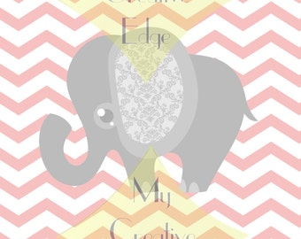 Nursery Art - Pink and Grey Elephants