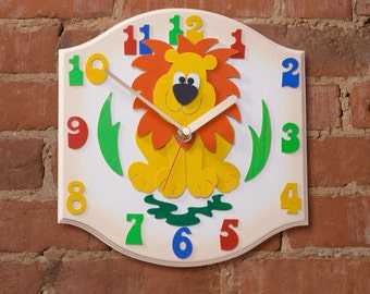 Lion Clock - Childrens silent ticking wall clock, perfect for Jungle Theme Bedrooms, Nursery Rooms , Playroom