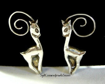 Deer Earrings Sterling Silver Handmade Stamped Mexico Silver Fine Jewelry SylCameoJewelsStore