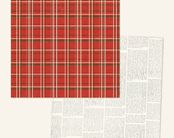 """SCRAPBOOK PAPER / 4 Sheets / Cozy Christmas """"Christmas Flannel"""" Glittered Paper / 12 x 12 inches"""