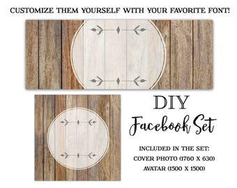 Wood Facebook Set-Rustic Facebook Set-DIY Instant Download