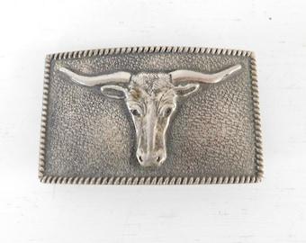Vintage Longhorn Steer Belt Buckle, Pewter Cowboy Belt Buckle, Texas Rodeo, Country Thunder