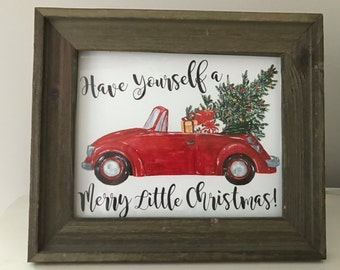 Merry Little Christmas Print   Red Holiday Car Print   Vintage Christmas Print   Have Yourself a Merry Little Christmas Print