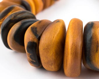 30 Amber Color Moroccan Horn Beads - Morocco Horn Beads - Unusual Horn Beads - African Horn Beads - Orange Horn Beads (HRN-CHK-AMB-127)