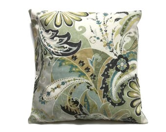 Decorative Pillow Cover Paisley Design Shades of Green White Brown Gray Blues Toss Throw Accent Same Fabric Front/Back18x18 inch  x