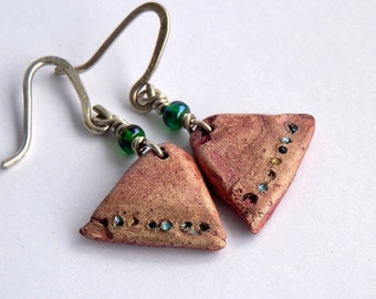 ceramic earrings, handmade ceramic beads, Jewelry beads, dangle, cool vintage, jewelry art, looks great, unique,