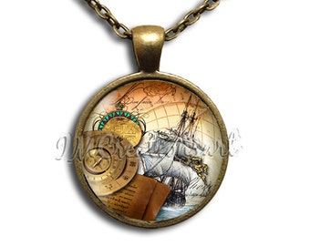 Vintage Sailing Ship - Round Glass Dome Pendant or with Necklace by IMCreations - NL102