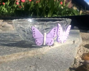Purple Polymer Clay Butterfly Earrings