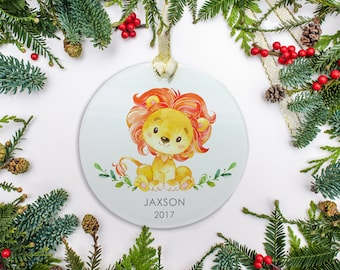 Personalized Baby Christmas Ornament, Lion Ornament, Watercolor Ornament, Baby's 1st Christmas 2017 Ornament Gift, Baby Boy or Girl Ornament