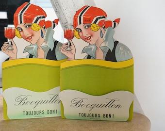 30s French advertising alcohol, cardboard,vintage, letter holder