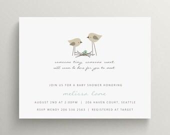 bird nest baby shower invitation set  //  baby announcement  //  egg  //  feather their nest // bird // thank you note // spring