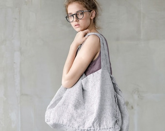 Large linen tote bag / linen beach bag / linen shopping bag in small checks