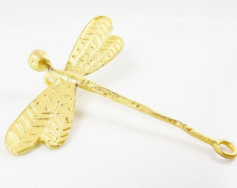Large Dragonfly Connector Pendant - Back Loop- 22k Gold Plated