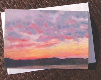 Evening sky sunset note cards, Set of 8 cards with envelopes