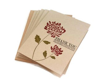 Thank You Cards, Autumn Wedding, Fall Wedding, Thank You Card Set, Thank You Notes, Note Card Set, Notecards, Chrysanthemum Cards, Mum Card
