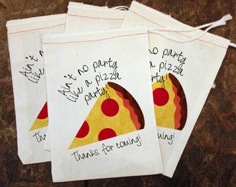 4 Pack Kids Pizza Party Goodie Bag, Candy Bag Toddler Birthday Party, Thank You Gift Bag, Pizza Slice Party Favor, Pizza Party Decor Goody