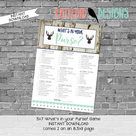 gender reveal party game Woodland Deer baby boy shower What's in your purse rustic Tribal boho mint navy gray   1238b Katiedid cards