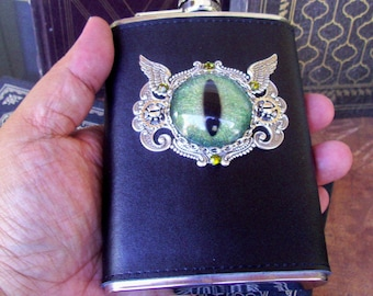 Steampunk Dragon Eye Flask (F702) Green Gold Sparkle Hand Painted Eye, 8 Oz Stainless Steel, Leather Wrap, Silver Plated Hardware, Crystals