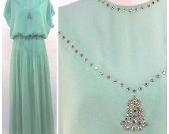 Mint Green Dress w Rhinestone Neckline, Accordion Pleats, Party Formal Evening Dress, Vintage 60s Gown Maxi Dress - Pastel Seafoam Green