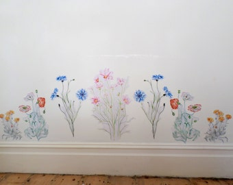 Floral wall decals, meadow home decor, wildflower decals, girls decals, floral wall stickers, floral home decor