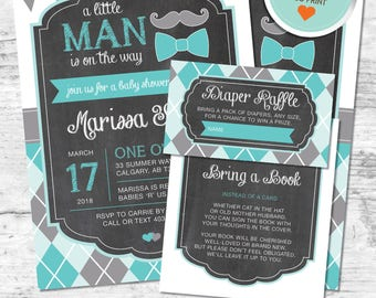 Little Man Baby Shower Invitation, Mustache Invitation, Teal, Gray, Flags, Argyle, Chalkboard | DIY